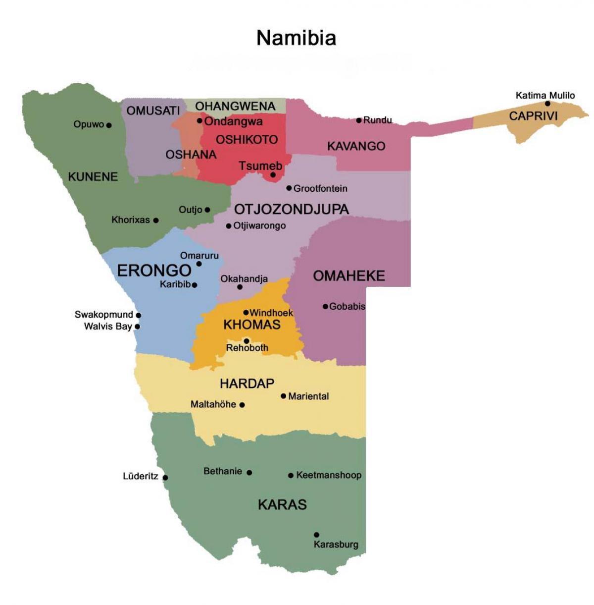 Namibia Kort Med Regionerne Kort Over Namibia Med Regioner
