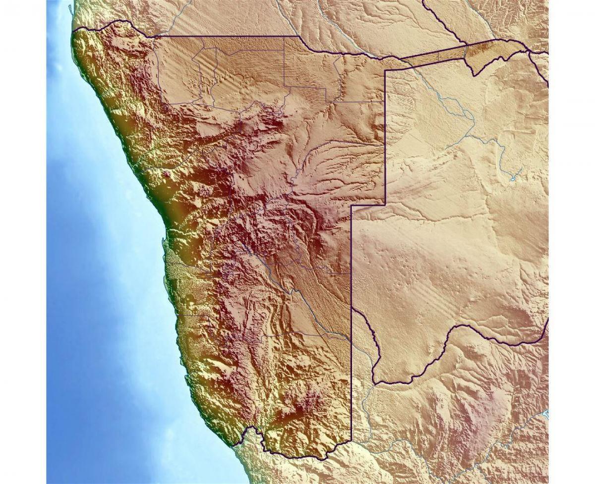Namibia Topografisk Kort Kort Over Namibia Topografiske Det
