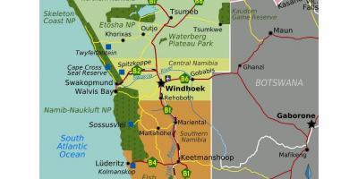 Namibia Kort Kort I Namibia I Det Sydlige Afrika Afrika